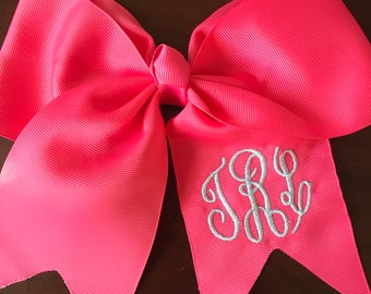 Monogram Embroidered Bow | Cheer Bow | Prep Bow with Alligator Clip