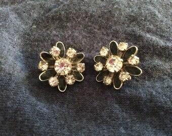 Vintage rhinestone on black clip on earrings