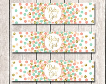 Baby Shower Water Bottle Labels Printable Party Supplies Baby Girl Water Bottle Labels Coral Mint Gold Water Bottle Labels INSTANT DOWNLOAD