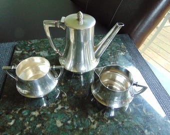 Beautiful Vintage Sterling Silver Tea Pot with Cream & Sugar