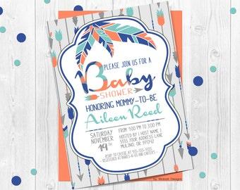 Tribal Arrow Baby Shower Invitation, Boho Navy Orange Green Teal, Tribal arrow, Tribal baby shower, Arrow baby shower, Boho Chic, Arrows