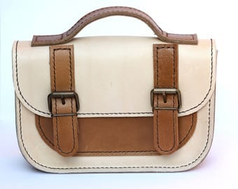 Hand Stitched Genuine Classic Mini Me Leather Satchel - Thick Cream & Tan Brown