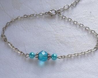 Bead bracelet,birthstone jewelry,mothers day,birthday,march,aquamarine,gift,personalised,birthstone bracelet,silver,chain bracelet,handmade