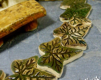 Fairy Garden Miniature Leaves |  Stepping Stones Set #48 | Set of 3 Large Green Ivy  Leaves