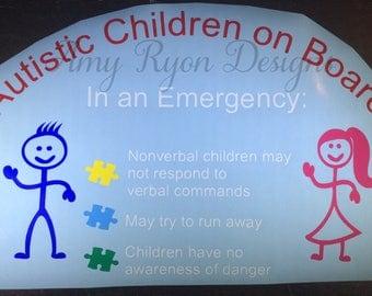 Autistic Children on Board Car Decal, Autism Emergency Alert, Alert Medical Responders Car Decal, Medical Alert Decal, Autism Decal