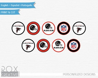 Atlanta Falcons Cupcake Toppers, Falcons Favor Tags, Napkin Rings, Digital Design