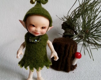 """Felted outfit """"Forest Nymph"""" for Realpuki - Realpuki clothed - Forest elf"""