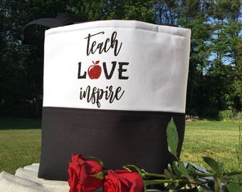 Teacher Gift - Teacher School Bag - Gift for Her - Gifts for Teacher - Unique Teacher Gift - Teacher Tote Bag - Teach Love Inspire Bag