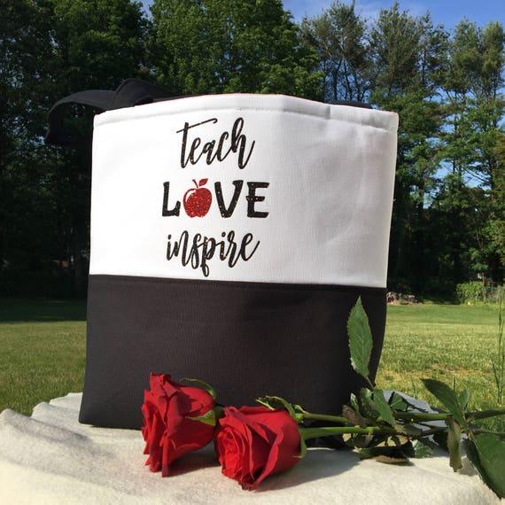 Teacher Gift - Teacher School Bag - Gift for Her - Gifts for Teacher - Unique Teacher Gift - Teacher Tote Bag - Teach Love Inspire Bag