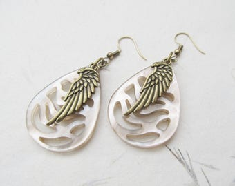Wing earrings, pendant earrings, angel earrings