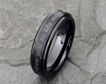 Mens Wedding Band Custom Engraved Top Tungsten Wedding Band, Black Tungsten Ring 6mm tungsten wedding band Mens Ring Personalized Ring