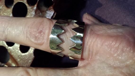 Sterling silver SHARK TEETH rocker-byker men's ring