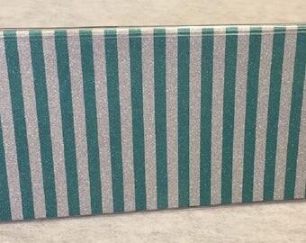 Vinyl Checkbook cover, Glitter Teal Silver Stripe, Scrapbook style,Duplicate or Single Checks, No wait Ready to Ship