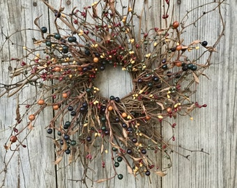 Twig Wreath with Pip Berries, Pip Berry Wreath, Fall Wreath, Primitive Wreath, Rustic Wreath, Country Wreath,Winter Wreath ,Free Shipping