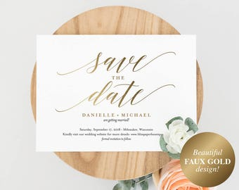Faux Gold Save the Date Template, Save the Date Cards, Save the Date Printable, Bliss Paper Boutique, PDF Instant Download #BPB324_2B