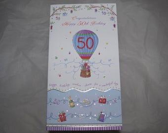 Congratulations Happy 50th Birthday Card  Ballooning