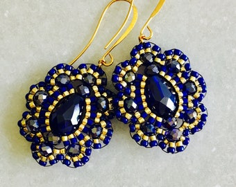 Brick stitched Earrings- Brickstitch Dangle Earrings- Royal Blue Earrings- Cobalt Blue Earrings- Free US Shipping
