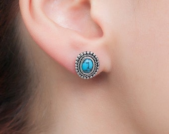 Turquoise Stud earrings. Native American Silver earrings. Unique hand made Turquoise and sterling silver earrings.