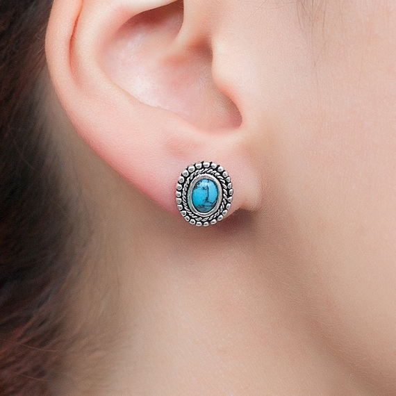 Silver Turquoise Stud earrings. Native American earrings. Unique hand made Turquoise and sterling silver earrings.