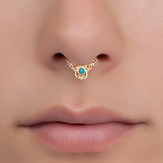 Tiny fake septum ring with turquoise. tribal septum. faux septum. fake septum piercing. turquoise.