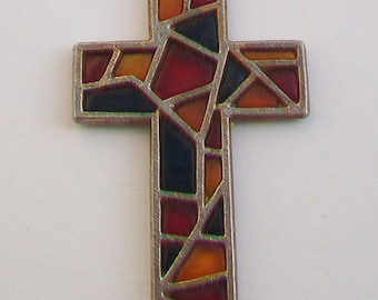 Large Stained Glass in Silver Tone Cross Pendant