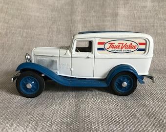 Vintage Golden Wheel True Value Delivery Truck Piggy Bank, Die Cast Metal