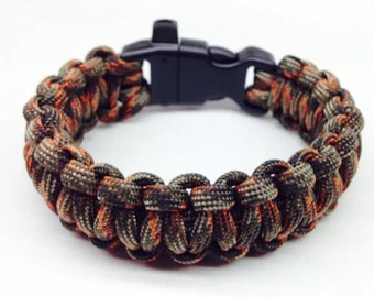 Paracord Bracelet Fall Realtree with Whistle Handmade Camo Survival Hiking Hunting USA Made