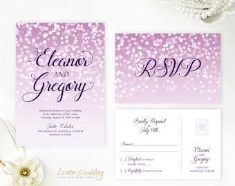 Purple wedding invitations with RSVP cards| Printed wedding invitation kits | Cheap wedding invitations | Personalized wedding invitations