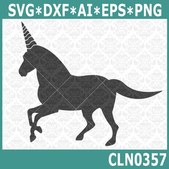 CLN0359 Unicorn Horn Silhouette Fairytale Fictional Animal SVG DXF Ai Eps PNG Vector Instant Download Commercial Cut File Cricut Silhouette