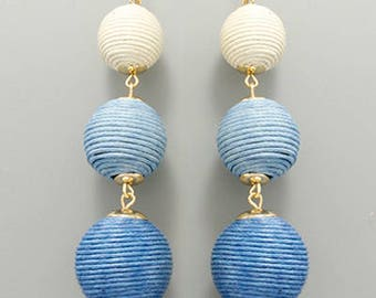 White & Blue Ombre BonBon Earrings