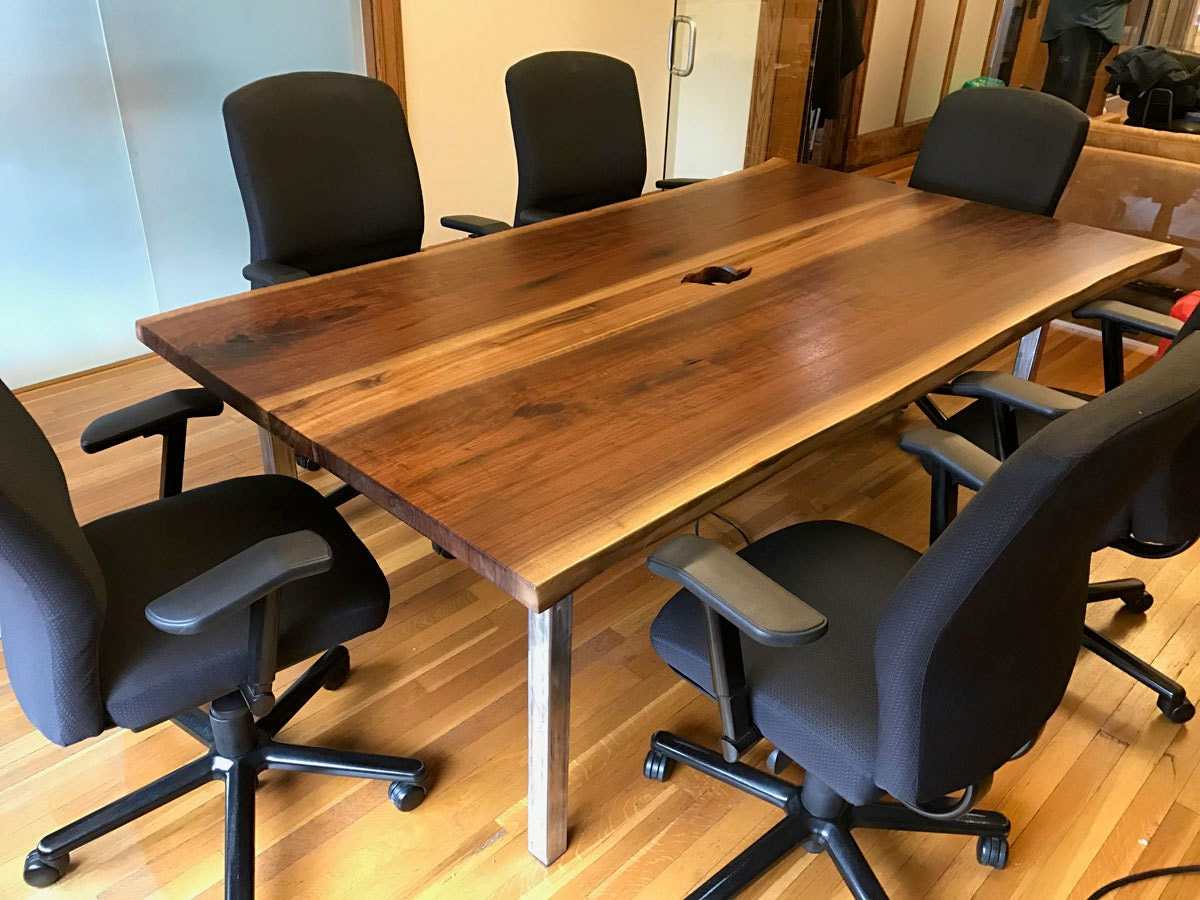 Live Edge Walnut Conference Table Wth Center OutletsUSB Ports - Conference table with outlets