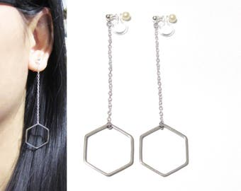 Hexagon Dangle Clip-ons Earrings |22A/B| Silver or Gold Chain Threader Clip on earrings Invisible Long Clip on Earrings Chandelier Clipons