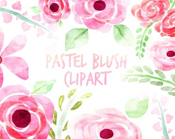 Watercolor Clipart, Watercolor Flowers, Floral Clipart, for personal and commercial use, scrapbooking, instant download, planner stickers