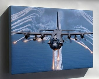 Canvas 24x36; Ac 130H Spectre Jettisons Flares
