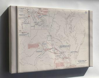 Canvas 24x36; Map Of Revolutionary War Virginia, 1778-1781