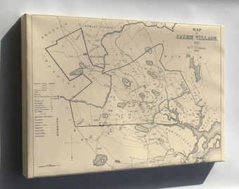 Canvas 16x24; Salem Village Map Of 1692, At The Start Of The Salem Witch Trials,  Charles W. Upham, Salem Witchcraft,
