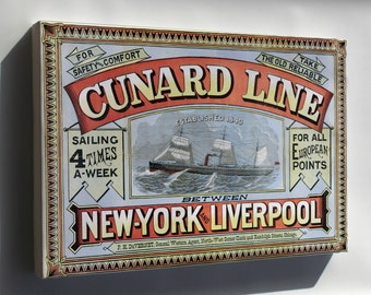 Canvas 16x24; Cunard Line Sailing Ad, New York City And Liverpool 1875