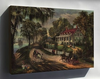Canvas 16x24; Home On The Mississippi, 1871 Currier And Ives