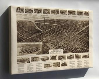 Canvas 16x24; Aero-View Map Of Lindenhurst, Long Island, 1926, New York
