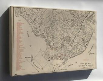 Canvas 16x24; Map Of Rio De Janeiro Brazil 1941