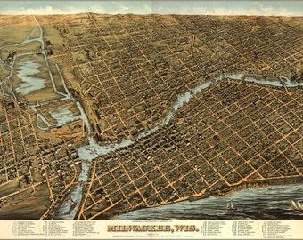16x24 Poster; Milwaukee Birdseye View Map By Bailey (1872)