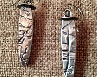Sterling silver hollow formed and roll printed dangle earring