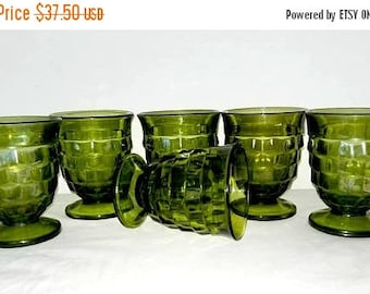 Whitehall Green Tumbler,Set of 6, Whitehall Footed Glass,Avocado,American Whitehall,Tumblers,Colony Glass Co,Mad Men,Fostoria,1960s