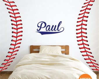 CUSTOM NAME in Baseball Script!  - Goes great with Baseball and Softball Stitches / Laces! - and other Sports Designs for your Kid's Bedroom