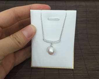 drop pearl pendant,9-9.5mm freshwater pearl drop pendant, ivory white tear drop pearl pendant,sterling silver pearl pendant