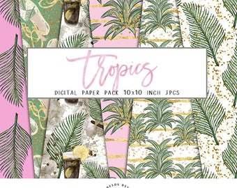 """Tropics Digital Papers, Tropical Summer Paper Pack, Palm Leaf Pattern Papers, Gold Glitter Papers 10"""" JPG Instant Download, 6 Papers"""