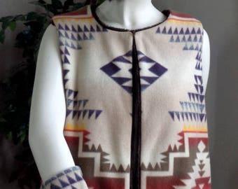 Vest, hip length - reversible;  Faux Fur Mink & fleece Southwest print