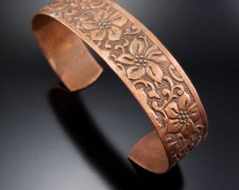 Vintage Copper Flower Cuff Bracelet Floral Vine Chased Bracelet Estate Jewelry