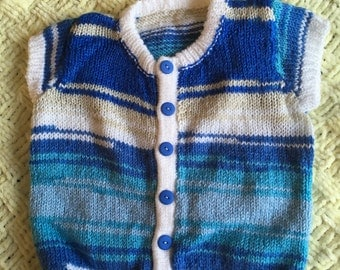 Baby boy gilet sleeveless cardigan 6 to 12 months