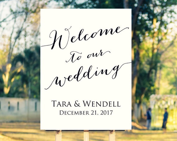 welcome to our wedding sign template editable template in. Black Bedroom Furniture Sets. Home Design Ideas